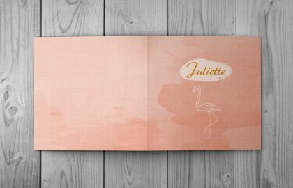 Juliette buitenzijde geboortekaart flamingo