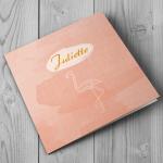 Voorzijde juliette flamingo geboortekaart