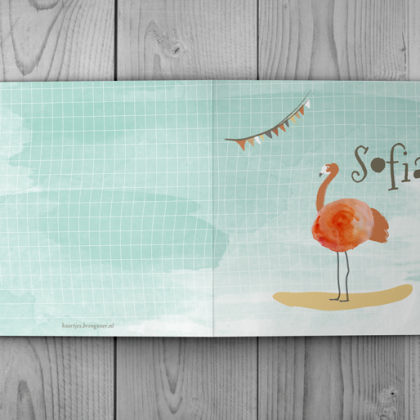 sofia-buitenkant geboortekaartje watercolor flamingo