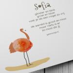 tekst gewoonjip.nl op geboortekaartje watercolor flamingo