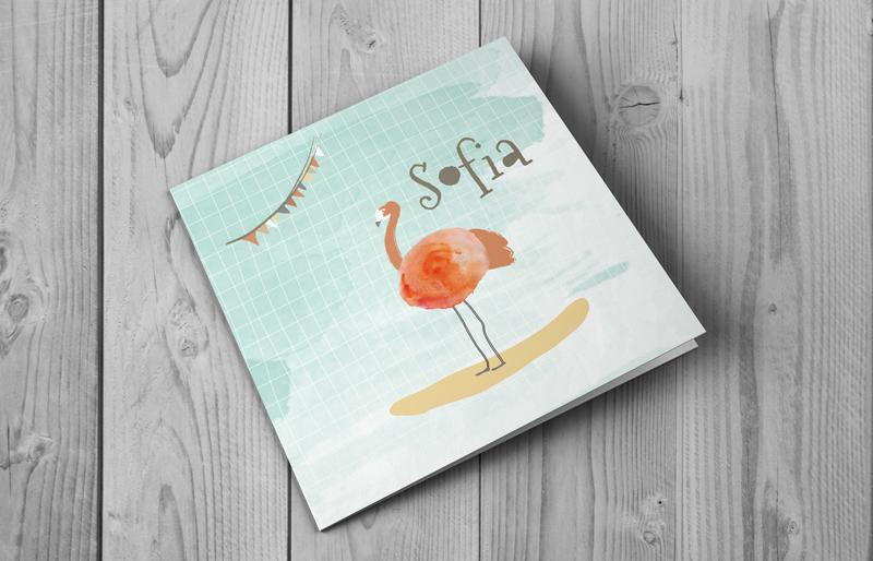 Voorzijde geboortekaartje Watercolor flamingo