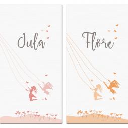 Tweeling-label-kaartje-schommel-JULA-en-FLORE-Brengover-Kaartjes