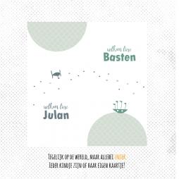 Geboortekaartje tweeling bootje en vliegtuig eenvoudig en rustig geboortekaartje