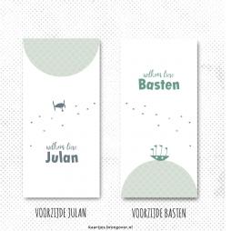 Tweeling geboortekaartje vliegtuigje en bootje label rustig eenvoudig jongetjestweeling