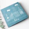 Geboortekaartje blauw stad getekend