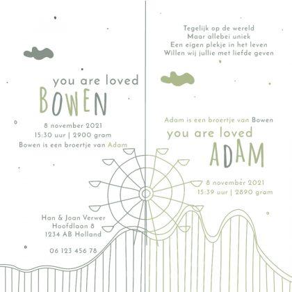 Tweeling geboortekaartje uniek kaartje reuzenrad achtbaan ACHTERZIJDE Brengover kaartjes