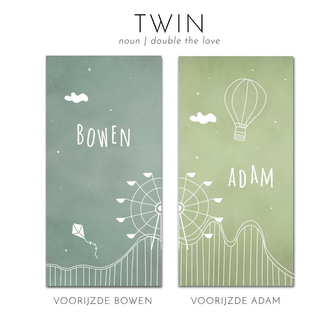 Tweeling geboortekaartje reuzenrad achtbaan Brengover kaartjes